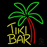 Yellow Tiki Bar With Palm Tree Neon Sign