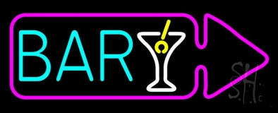 Bar With Wine Glass Arrow Neon Sign