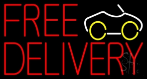Free Delivery With Car Neon Sign