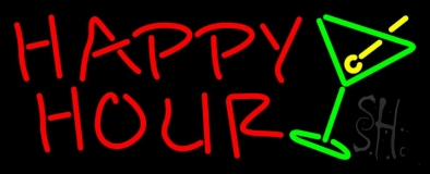 Happy Hour With Martini Glass Neon Sign