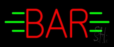 Red Bar With Green Lines Neon Sign