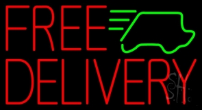 Red Free Delivery With Car Neon Sign
