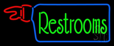 Restrooms With Hand Pointing LED Neon Sign