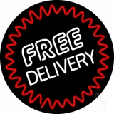 Round Free Delivery Neon Sign