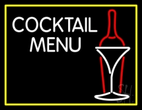 Cocktail Menu With Bottle And Glass Neon Sign