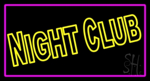 Double Stroke Yellow Night Club Pink Border Neon Sign