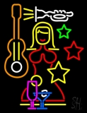 Night Club With Girl Guitar Wine Glasses Neon Sign