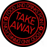 Take Away Food And Drink Point Neon Sign