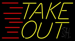 Yellow Take Out Neon Sign