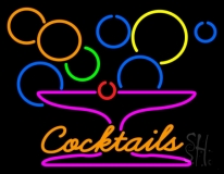 Cocktails With Martini Glass Neon Sign