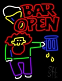 Double Stroke Bar Open With Man and Mug Neon Sign