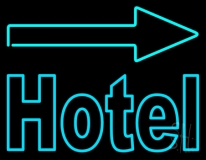 Hotel With Arrow On Top Neon Sign