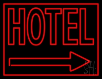 Red Hotel With Arrow Neon Sign