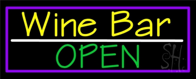 Yellow Wine Bar Green Open Neon Sign