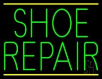 Green Shoe Repair Yellow Lines Neon Sign