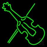 Green Violin Neon Sign