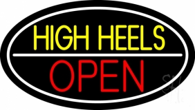 High Heels Open White Border Neon Sign