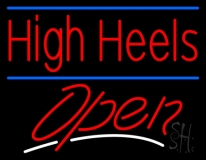 High Heels Open With Blue Line Neon Sign