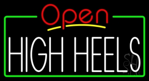 High Heels Open With Green Border Neon Sign