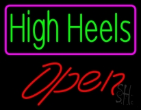 High Heels Open With Pink Border Neon Sign