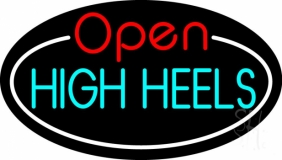 High Heels Open With White Border Neon Sign