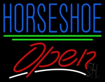 Horseshoe Open Neon Sign