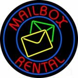 Mail Box Rental Blue Circle Neon Sign