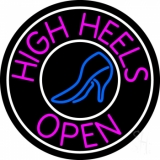 Pink High Heels Open With White Border Neon Sign