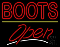 Red Boots Open Neon Sign