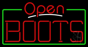 Red Boots Open With Border Neon Sign