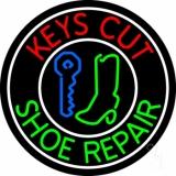 Red Keys Cut Green Shoe Repair Neon Sign