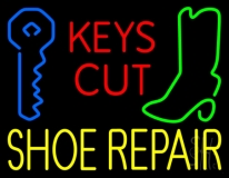 Red Keys Cut Yellow Shoe Repair Neon Sign