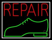 Red Repair Shoe Logo Neon Sign