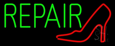 Red Sandal Logo Green Repair Neon Sign