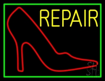 Red Sandal Logo Repair With Border Neon Sign