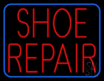 Red Shoe Repair Blue Border Neon Sign