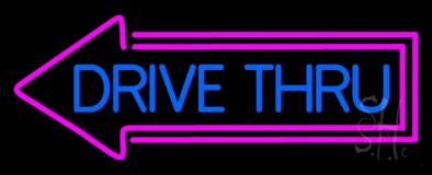 Blue Drive Thru With Pink Arrow Neon Sign