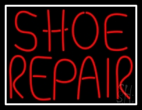 Red Shoe Repair With Border Neon Sign