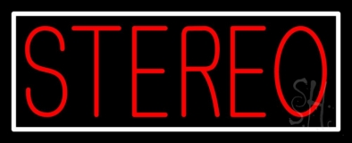 Red Stereo Block White Border Neon Sign