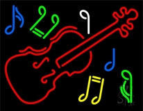 Violin Logo Block Neon Sign