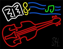 Sheet Music Note Violin Neon Sign