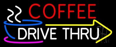 Coffee Drive Thru With Yellow Arrow Neon Sign