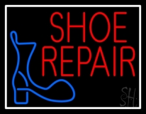Shoe Repair Logo With Border Neon Sign