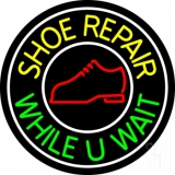 Shoe Repair While You Wait With White Border Neon Sign