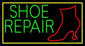 Shoe Repair Yellow Border Neon Sign