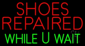 Shoes Repaired While You Wait Neon Sign