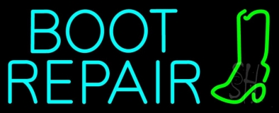 Turquoise Boot Repair Neon Sign