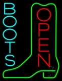 Turquoise Boots Open Neon Sign