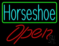 Turquoise Horseshoe Open With Border Neon Sign