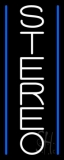 Vertical White Stereo Block Blue Line 1 Neon Sign